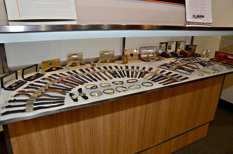 covered display of wristwatches
