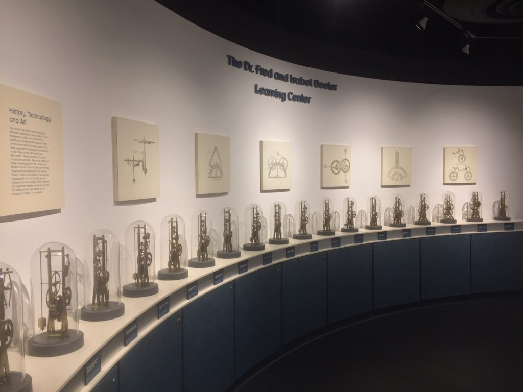 display of escapements at learning center