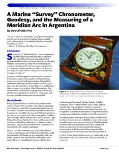 "A Marine ""Survey"" Chronometer, Geodesy, and the Measuring of a Meridian Arc in Argentina cover photo"